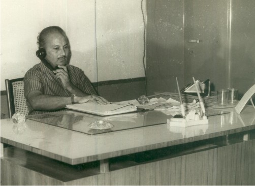 At the desk of Divisinal Secretary of WRMS – Baroda – 1977